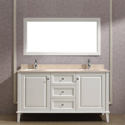 Milly 63 Double Bathroom Vanity Set with Mirror Base Finish: Blanc, Top Finish: Gala Beige Marble
