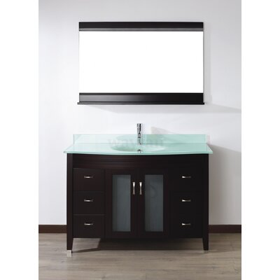 Alfa 48 Single Bathroom Vanity Set with Mirror Base Finish: Chai, Top Finish: Mint Green Glass