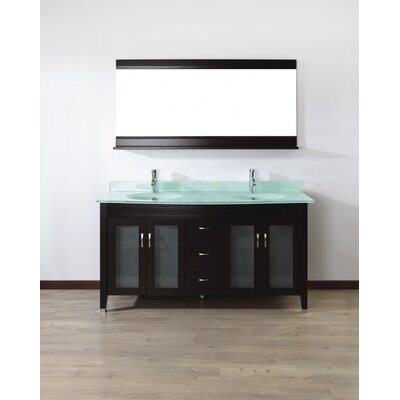 Alfa 63 Double Bathroom Vanity Set with Mirror Base Finish: Chai, Top Finish: Mint Green Glass