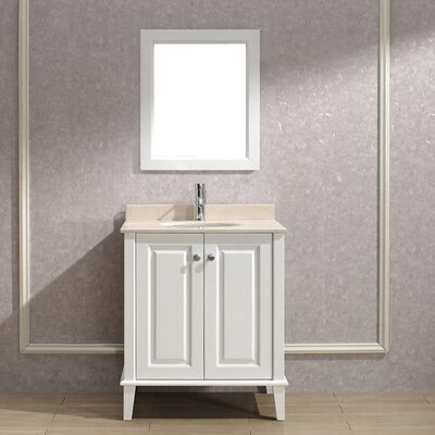 Milly 30 Single Bathroom Vanity Set with Mirror Base Finish: Blanc, Top Finish: Gala Beige Marble