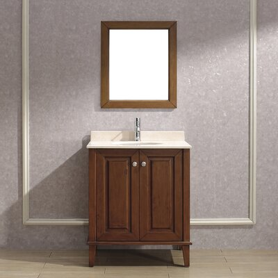 Milly 30 Single Bathroom Vanity Set with Mirror Base Finish: Ceries Classique, Top Finish: Gala Beige Marble