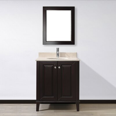 Milly 30 Single Bathroom Vanity Set with Mirror Base Finish: Chai, Top Finish: Gala Beige Marble