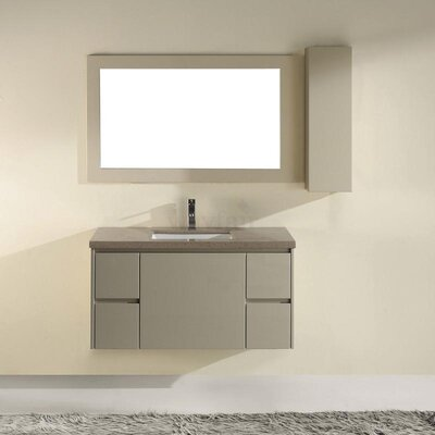 Barros 42 Single Bathroom Vanity Set with Mirror Base Finish: High Gloss White, Top Finish: Coffee Quartz