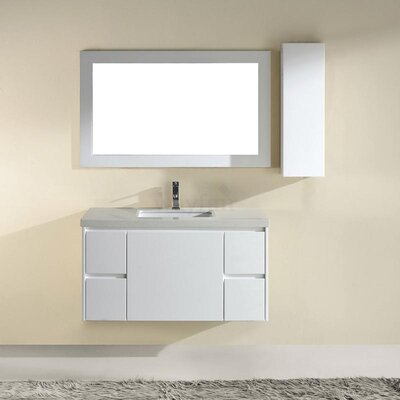 Barros 42 Single Bathroom Vanity Set with Mirror Base Finish: High Gloss White, Top Finish: Nougat Quartz
