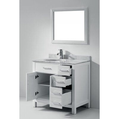 Celize 36 Single Bathroom Vanity Set with Mirror Base Finish: White, Faucet Finish: No Faucet