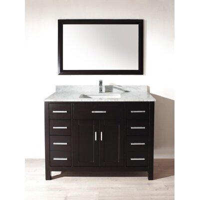 Celize 48 Single Bathroom Vanity Set with Mirror Base Finish: Espresso, Faucet Finish: No Faucet