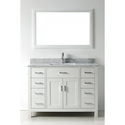Celize 48 Single Bathroom Vanity Set with Mirror Base Finish: White, Faucet Finish: No Faucet