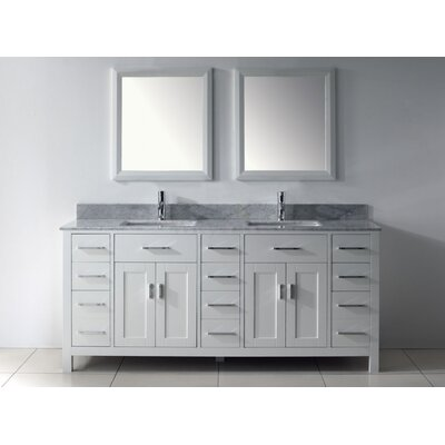 Celize 75 Double Bathroom Vanity Set with Mirror Base Finish: White, Faucet Finish: No Faucet