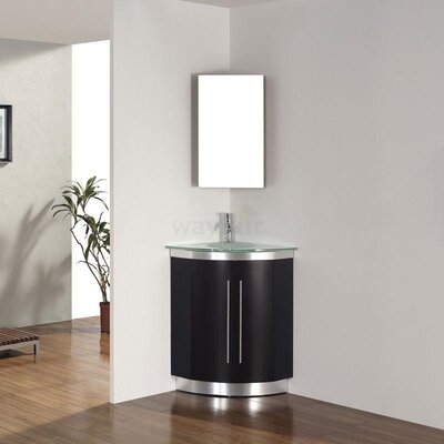 Diara 31 Single Corner Bathroom Vanity Set with Mirror Base Finish: Chai, Top Finish: Mint Green Glass