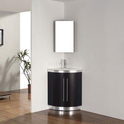 Diara 31 Single Corner Bathroom Vanity Set with Mirror Base Finish: Chai, Top Finish: Nougat Quartz