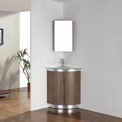 Diara 31 Single Corner Bathroom Vanity Set with Mirror Base Finish: Fum�, Top Finish: Mint Green Glass