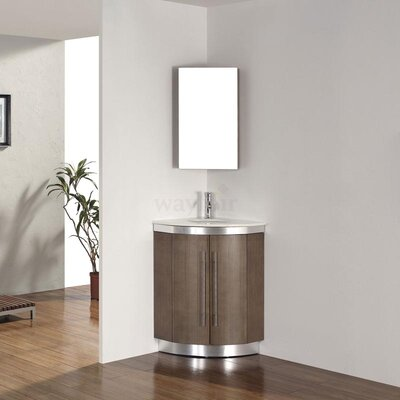 Diara 31 Single Corner Bathroom Vanity Set with Mirror Base Finish: Fum�, Top Finish: Nougat Quartz