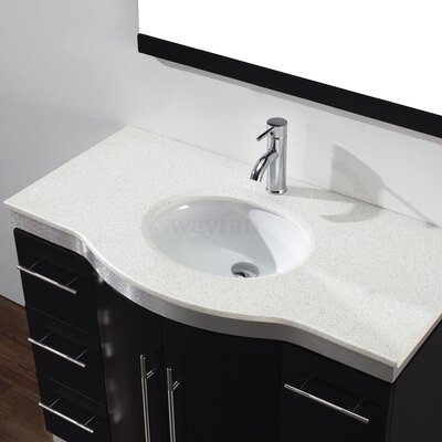 Dinara 42 Single Bathroom Vanity Set with Mirror Base Finish: Chai, Top Finish: Nougat Quartz