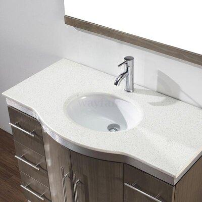 Dinara 42 Single Bathroom Vanity Set with Mirror Base Finish: Smoked Ash, Top Finish: Nougat Quartz