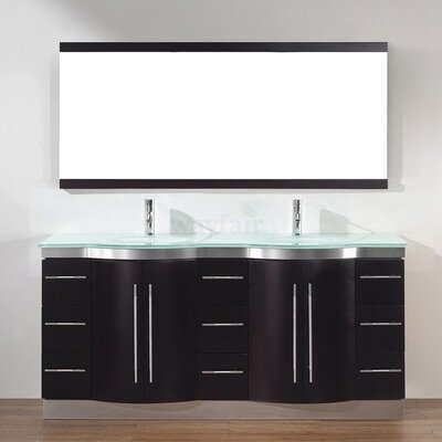 Dinara 72 Double Bathroom Vanity Set with Mirror Base Finish: Chai, Top Finish: Mint Green Glass