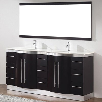 Dinara 72 Double Bathroom Vanity Set with Mirror Base Finish: Chai, Top Finish: Nougat Quartz