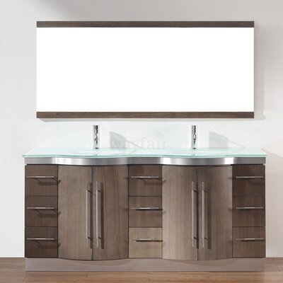 Dinara 72 Double Bathroom Vanity Set with Mirror Base Finish: Fum�, Top Finish: Mint Green Glass