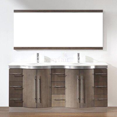 Dinara 72 Double Bathroom Vanity Set with Mirror Base Finish: Fum�, Top Finish: Nougat Quartz