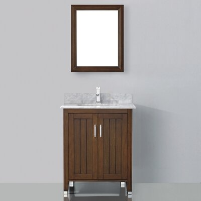 Jacchi 28 Single Bathroom Vanity Set with Mirror Base Finish: Ceries Classique, Top Finish: Carerra White Marble