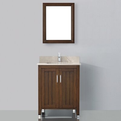 Jacchi 28 Single Bathroom Vanity Set with Mirror Base Finish: Ceries Classique, Top Finish: Gala Beige