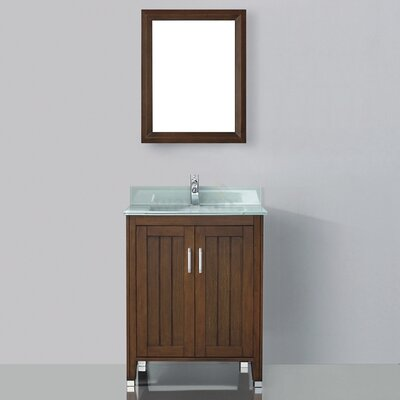 Jacchi 28 Single Bathroom Vanity Set with Mirror Base Finish: Ceries Classique, Top Finish: Mint Green Glass