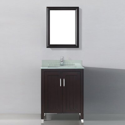 Jacchi 28 Single Bathroom Vanity Set with Mirror Base Finish: Chai, Top Finish: Mint Green Glass