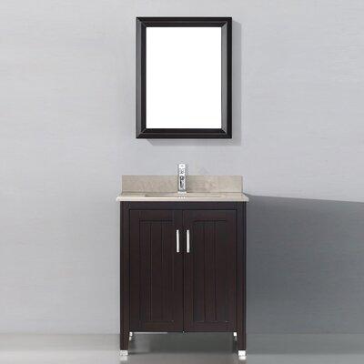 Jacchi 28 Single Bathroom Vanity Set with Mirror Base Finish: Chai, Top Finish: Gala Beige