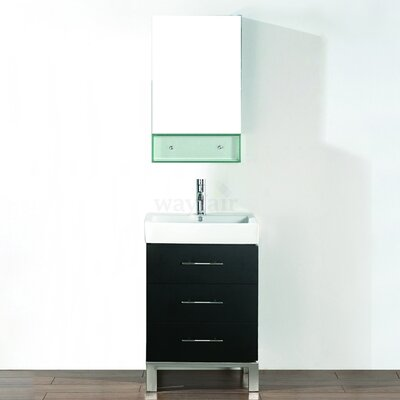 Kinsa 22 Single Bathroom Vanity Set with Mirror Base Finish: Chai