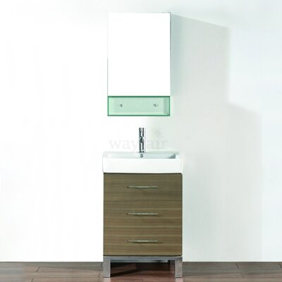 Kinsa 22 Single Bathroom Vanity Set with Mirror Base Finish: Fum�