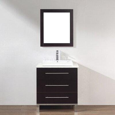 Kinsa 28 Single Bathroom Vanity Set with Mirror Base Finish: Chai
