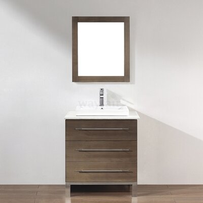 Kinsa 28 Single Bathroom Vanity Set with Mirror Base Finish: Fum�