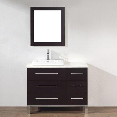 Kinsa 42 Single Bathroom Vanity Set with Mirror Base Finish: Chai