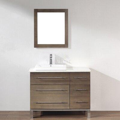 Kinsa 42 Single Bathroom Vanity Set with Mirror Base Finish: Fum�