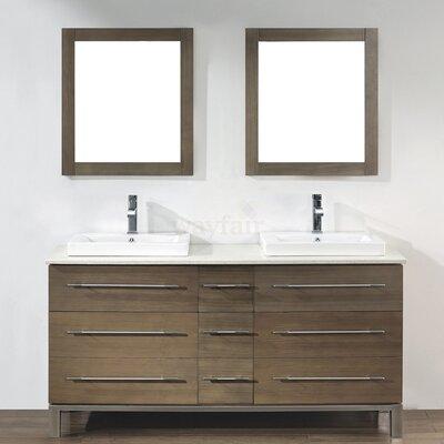 Kinsa 63 Double Bathroom Vanity Set with Mirror Base Finish: Fum�