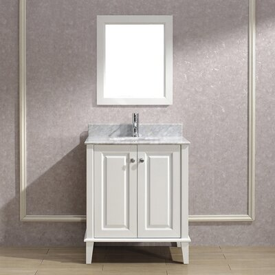 Milly 30 Single Bathroom Vanity Set with Mirror Base Finish: Blanc, Top Finish: Carerra Marble
