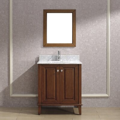 Milly 30 Single Bathroom Vanity Set with Mirror Base Finish: Ceries Classique, Top Finish: Carerra Marble