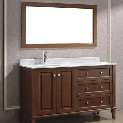 Milly 55 Single Bathroom Vanity Set with Mirror Base Finish: Ceries Classique, Top Finish: Carerra Marble