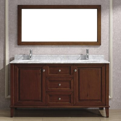Milly 63 Double Bathroom Vanity Set with Mirror Base Finish: Ceries Classique, Top Finish: Carerra Marble