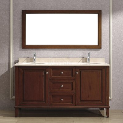 Milly 63 Double Bathroom Vanity Set with Mirror Base Finish: Ceries Classique, Top Finish: Gala Beige Marble
