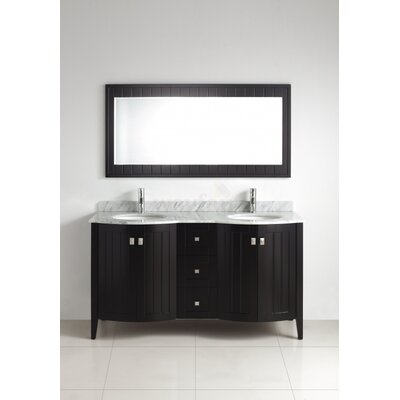 Ridgeport 60 Double Bathroom Vanity Set with Mirror Base Finish: Espresso, Top Finish: Mint Green