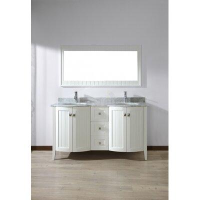 Ridgeport 60 Double Bathroom Vanity Set with Mirror Base Finish: White, Top Finish: Carrerra Marble