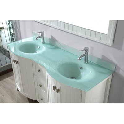 Ridgeport 60 Double Bathroom Vanity Set with Mirror Base Finish: White, Top Finish: Mint Green