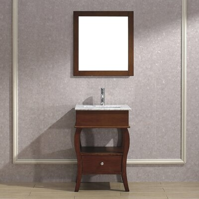 Winzer 24 Single Bathroom Vanity Set with Mirror Base Finish: Ceries Classique, Top Finish: Carerra Marble