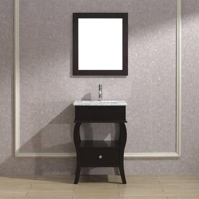 Winzer 24 Single Bathroom Vanity Set with Mirror Base Finish: Chai, Top Finish: Carerra Marble