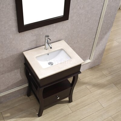 Winzer 24 Single Bathroom Vanity Set with Mirror Base Finish: Chai, Top Finish: Gala Beige