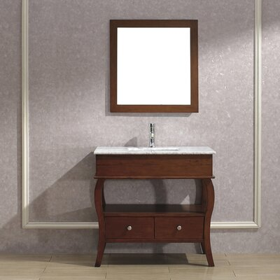 Winzer 36 Single Bathroom Vanity Set with Mirror Base Finish: Ceries Classique, Top Finish: Carerra Marble