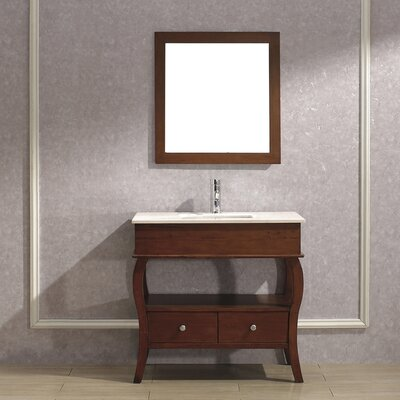 Winzer 36 Single Bathroom Vanity Set with Mirror Base Finish: Ceries Classique, Top Finish: Gala Beige