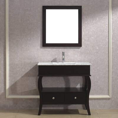 Winzer 36 Single Bathroom Vanity Set with Mirror Base Finish: Chai, Top Finish: Carerra Marble