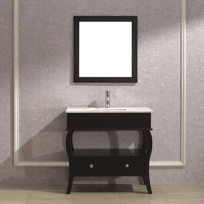 Winzer 36 Single Bathroom Vanity Set with Mirror Base Finish: Chai, Top Finish: Gala Beige