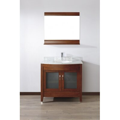 Alfa 36 Single Bathroom Vanity Set with Mirror Base Finish: Ceries Classique, Top Finish: Carerra White Marble